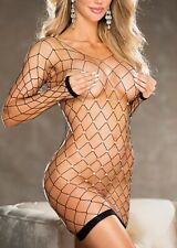 Shirley of Hollywood BLACK Sparkly Fishnet Chemise, US One Size Fits Most
