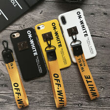 Off White Case Hard Plastic Phone Cover Lanyard For iPhone 8 7 6 6s 5s Plus X