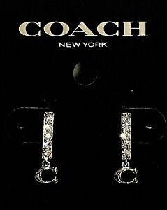 "NEW Coach Silver Tone Signature ""C"" Logo Pave Bar Stud Earrings 91446"