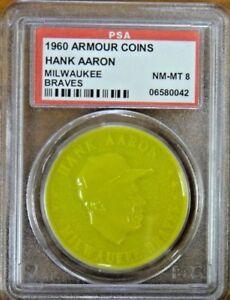 Rare 1960 Armour Coin Hank Aaron Error Yellow PSA 8 NM-MT