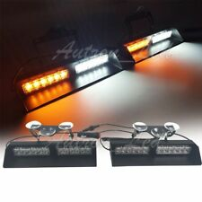 "20"" 24W LED Emergency Warning Flashing Dash Deck Split Strobe Lights Amber White"