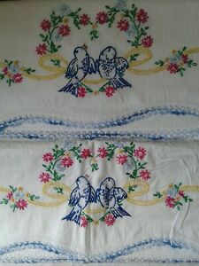 Pair of Vintage Pillowcases, Hand Embroidered,  Blue Bird, Standard Size