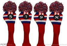 USA Red White Blue 5 7 9 X Wood Headcover Set Knit Head Covers Headcovers Cover