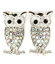 Clear Crystal Owl Earrings