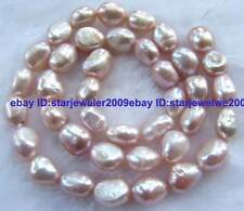 Pink 8x10-8x12mm Freshwater Pearl freeform Beads 14''