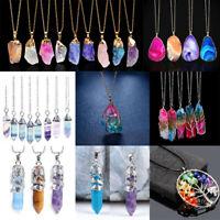 Rainbow Stone Natural Crystal Chakra Rock Chain Quartz Pendant Necklace Jewelry