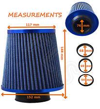 BLUE K&N TYPE UNIVERSAL FREEFLOW PERFORMANCE AIR FILTER & ADAPTERS - MG