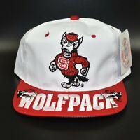 NC State Wolfpack Vintage 90's NCAA Big Logo Headmaster Snapback Cap Hat - NWT