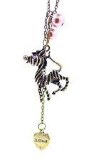 Estilo vintage bronce cebra charm collar con perla