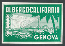 Hotel California GENOVA Italy - vintage luggage label