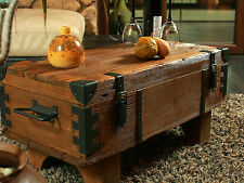 Old Chest Box Table Shabby Chic Wood Side Table Wooden Chest Coffee Table 3AF