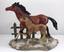 """Brown Horse And Foal Figurine Sculpture 6"""" Mom Baby Fence Resin Z6"""