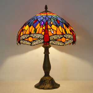 """Dia 11.81"""" H18.1"""" Tiffany Style Blue Dragonfly Stained Glass Table Reading Lamp"""