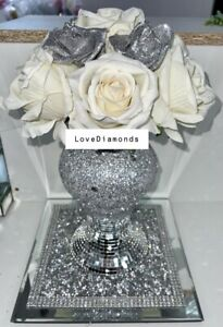 CRUSHED DIAMOND SILVER AND WHITE VASE WITH WHITE FOAM FLOWERS