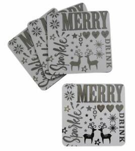 Sparkle Reindeer Christmas Set Of 4 Coasters
