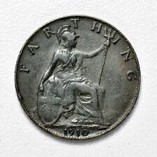 GB EDWARD VII BRONZE FARTHING 1910 ++ SHARP GRADE!! ++ [984-05]