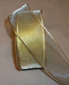 """5 Yds. GOLD METALLIC MESH RIBBON  1 1/2"""" Wide"""
