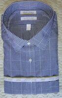 Roundtree Yorke Dress Shirt * Navy Blue Mini-Gingham * 20 - 36/37 TALL NWT
