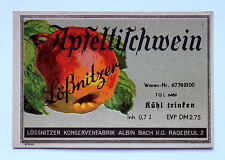 Lößnitz`er Apfelwein Weinetikett Winlabel ca. 1950/60 Radebeul Sachsen DDR