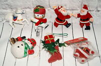 Vintage Flocked Christmas Ornaments Figures Santa Claus Horse Boot Snowman