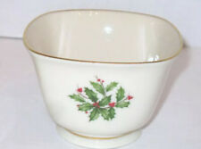 Lenox China Holiday Holly Berry Leaves 3� Square Christmas Candy Mints Nut Bowl