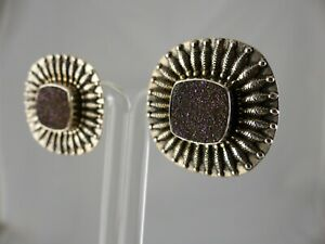 SALE-AMY KAHN RUSSELL DRUZY EMBELLISHED STERLING CLIP/POST EARRINGS