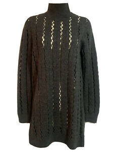 COS High Neck Open Knit Jumper Sweater Dress Stylish Scandi Charcoal Grey Wool 8