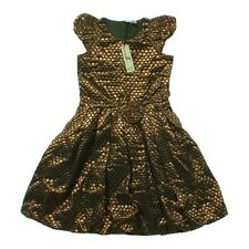Sophie Catalou Tent Dress Brown Green Gold Sz 6 Holiday Girl Polka Dot Balloon