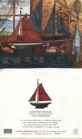 VINTAGE TOY WOOD SAIL BOATS WOOD DUCK DECOYS FISHING CABIN COTTAGE ART NOTE CARD