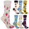 Ladies Novelty Funky Cute Cotton Fruit Socks - Avocado Strawberry Orange Designs