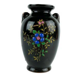"Vintage Mini Small Black Moriage Floral Flower Bud Vase - 3.25"" - Japan"
