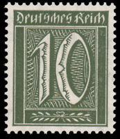 Germany #Mi159b MNH CV€200.00 XF 1921 10pf Blackish Olive [Oechsner Cert]