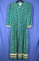 LADY CAROL Vintage CREPE CHIFFON TEAL GREEN SHIRT DRESS Pleated Skirt FLORAL 10
