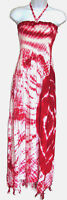 Red Smocked Halter Sundress Tie Dye Long Full Length One Size NWT