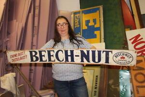 "Large Vintage Beech-Nut Chewing Tobacco Chews Best Tastes Best 48"" Metal Sign"