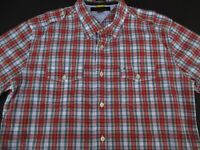 Tommy Hilfiger Mens Button Front Short Sleeve Red Blue Plaid Logo Shirt Large L