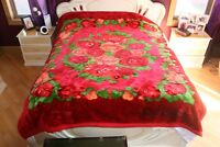 Rare Vintage Eskimo Red Flower Blanket Made in Seoul Korea Size 88'' x 75'' Nice