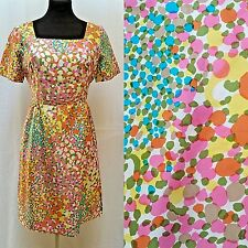 Vintage 50's SILK PRINT DRESS - Hand Made - Multi Colored Abstract Print - Sz M