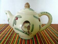 Pfaltzgraff WINTERWOOD Tea Pot Teapot Pinecones Chickadee 4 Cup Pot