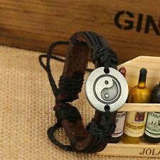 YIN YANG Genuine Leather Bracelet Surfer Minimalist Men/Women Black Bracelet