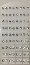 36 Pairs Clear Round Cubic Zirconia Stud Earring Sets