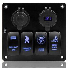 Car-Styling Boat Yacht 4 Gang LED Rocker Switch Panel Circuit Breaker Dual USB