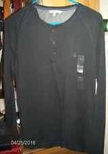 CALVIN KLEIN Long Sleeve BLACK Henley Shirt ~  Sz L ~ 100% Cotton ~ MSRP $59.50