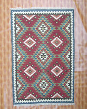 4x6 Kilim Afghan Decorative Area Rug Carpet Living Room Flat-Weave Geometric red