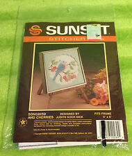 Sunset Counted Cross Stich Kit 269 Songbird and Cherries Judith Koch Dick - NEW