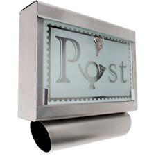 Boîte aux lettres en acier inoxydable verre avec compartiment journaux journal