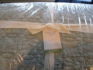 Pottery Barn Belgian flax linen Trellis mineral blue  twin quilt New with tag