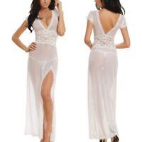 Long Dressing Sleepwear Sexy Night Gown Sheer Dress Ladies Transparent Lingeries