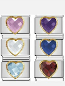 CRYSTAL HEART birthstone Charms that fit 9mm Nomination +gift pouch-NC170