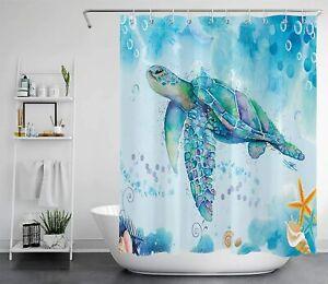 Sea Turtle Shower Curtain Marine Animals Blue Ocean For Bathroom Bathtub Decor